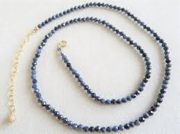 sapphire bead necklace images Handmade 18 quot genuine natural 32ct blue sapphire beads necklace JPG