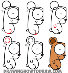 how to draw cartoon bear cub from lowercase letter g easy step