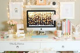 chic home office desk glam desk with pops of pink and turquoise home decor pinterest