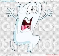 cartoon of a spooked halloween ghost screaming royalty free