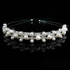 pearl headband new shiny rhinestone pearl headband silver wedding party