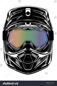 skull motocross helmet motocross dirt motorbike helmet vector illustration stock vector