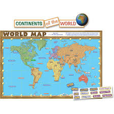 World Map Flat by World Map Repositionable Bulletin Board Display Set Tcr4410