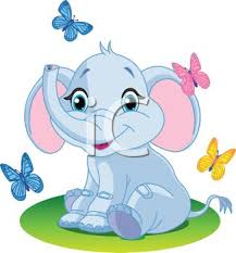 royalty free clip image baby elephant with butterflies