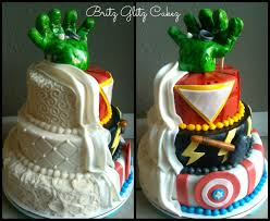 marvel cake toppers half wedding cake half grooms cake this one was to