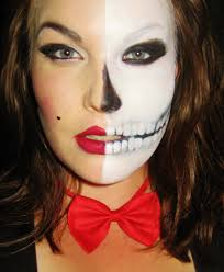 skeleton half skull makeup tutorial for halloween easy and