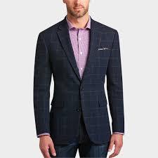 tommy hilfiger blue windowpane slim fit sport coat men s sport