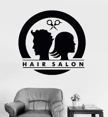 vinyl wall decal hair salon logo unisex barbershop stylist every sticker we sell is made per order and cut in house we make our wall decals using superior quality interior and exterior glossy removable vinyl