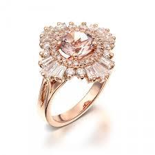 vintage engagement ring 18k rose gold diamonds and morganite art