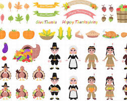 Happy Thanksgiving Pilgrims Pilgrim Clipart Etsy