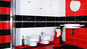 cool red and black bathroom room design decor creative under red