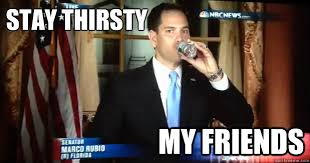 Stay Thirsty Meme - stay thirsty my friends stay thirsty marco rubio quickmeme