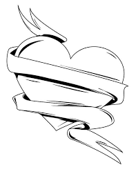 coloring pages of a heart drawings of heart with ribbon free download clip art free clip