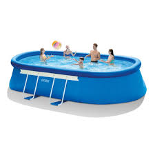 Intex Swim Center Family Pool Intex 18 Ft Long X 10 Ft Wide X 42 In Deep Oval Frame Pool Set