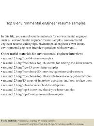 Resume For Ngo Job Top8environmentalengineerresumesamples 150425015917 Conversion Gate02 Thumbnail 4 Jpg Cb U003d1429945204