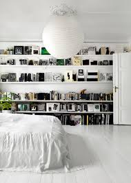 studio tour tenka gammelgaard s black white style coco all white bedroom with floating shelves coco kelley