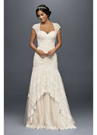 lace mermaid wedding dress tiered lace mermaid wedding dress with beading david s bridal