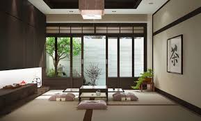 luxury dining room in japanese style wooden furniture