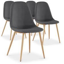 housse chaise de bureau lot de 4 chaises scandinaves gao tissu gris salle à manger