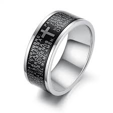 fashion cross rings images Black ring men 39 s ring made of stainless steel with bible prayer jpg