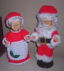 Santa Claus Dolls Handmade - handmade crocheted mr and mrs santa claus dolls 15 on stands ebay