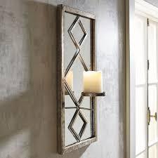 diamond framed mirror pillar candle wall sconce flickering