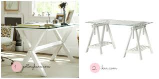 Office Glass Table Design Furniture Stunning Sawhorse Desk With Glass Countertop And Wooden