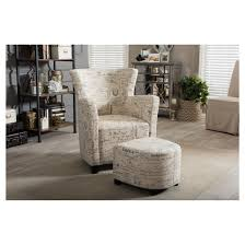 French Script Armchair Benson French Script Patterned Fabric Club Chair And Ottoman Set