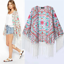 cardigan kimono 2015 new brand design japanese women white floral print