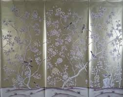 Hand Painted Wallpaper by Customized Luxurious Hand Painted Silver Gold Foil Wallpaper