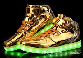 light up shoes gold high top metallic black white red sliver dance led luminous shoes gold high