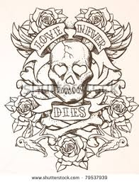 skull ribbon skull ribbon and roses tattoo designs photo 2 photo pictures