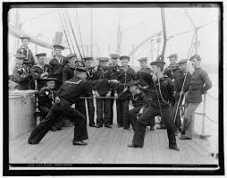 sailors engage in fencing exercises aboard the u s s atlanta