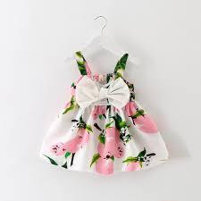 baby floral lemon dress newborn toddler bowknot wedding