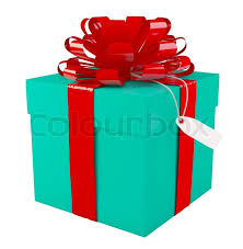 big present bow big green gift box with a big bow white background copyspace
