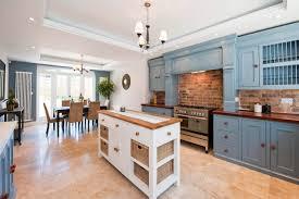 tiny kitchen island interior design blue kitchen cabinets with brick backsplash and