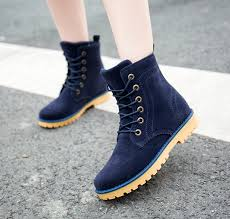 womens boots navy blue fashion suede leather martin boots style boots