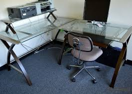 Glass Topped Computer Desk Gorgeous Glass Top Computer Desk Home Painting Ideas