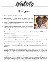Event Fact Sheet Template Watoto