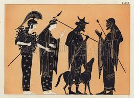 Ancient Greek Vase Painting Ancient Greek Figures Including Athena With Dog Look And Learn