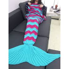 thicken stripe knitted wrap mermaid tail blanket in windsor blue