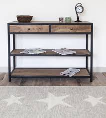 wood and metal console table dennest solid wood and metal console table with shelves made in