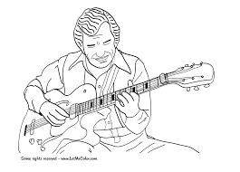 music coloring page jazz guitar letmecolor art music