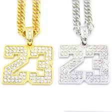 long chain crystal necklace images Iced out crystal men jewelry sport number pendants long chains hip jpg