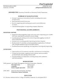 resume sle inventory supervisor