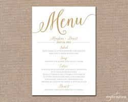 diy wedding menu cards gold wedding menu card printable wedding menu script