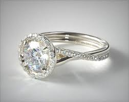 pave halo and twisted shank solitaire 14k white gold - Twisted Shank Engagement Ring