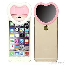 Light For Phone 2017 Selfie Heart Shaped Flash Light With Small Mirror