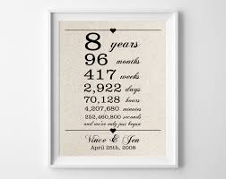 8th anniversary gift 8 years together cotton gift print 8th anniversary gifts
