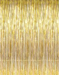 amazon com giftexpress metallic gold foil fringe curtain set of